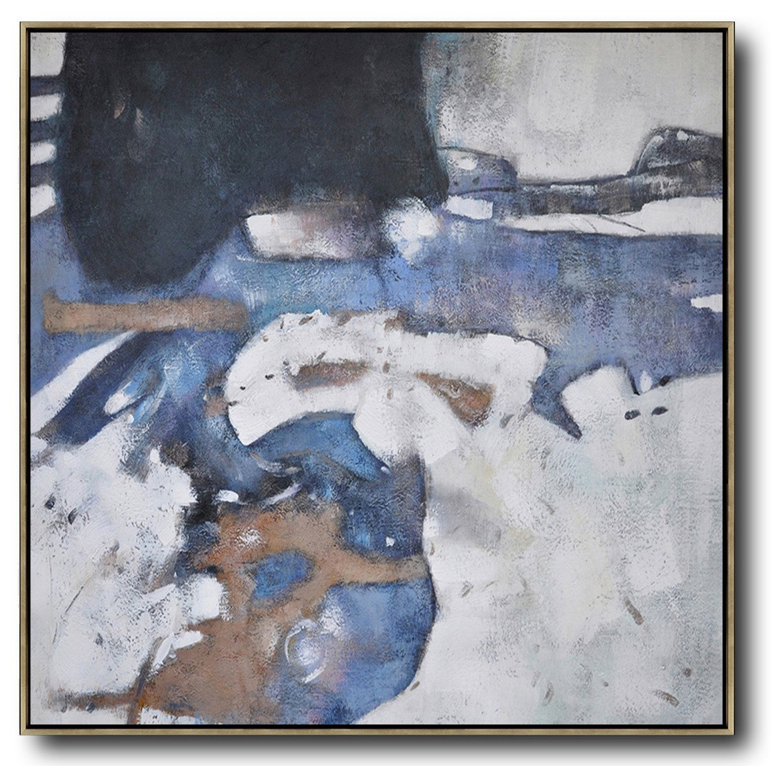 Handmade Large Painting,Oversized Abstract Painting,Hand Painted Acrylic Painting,White,Blue,Black,Gray.etc
