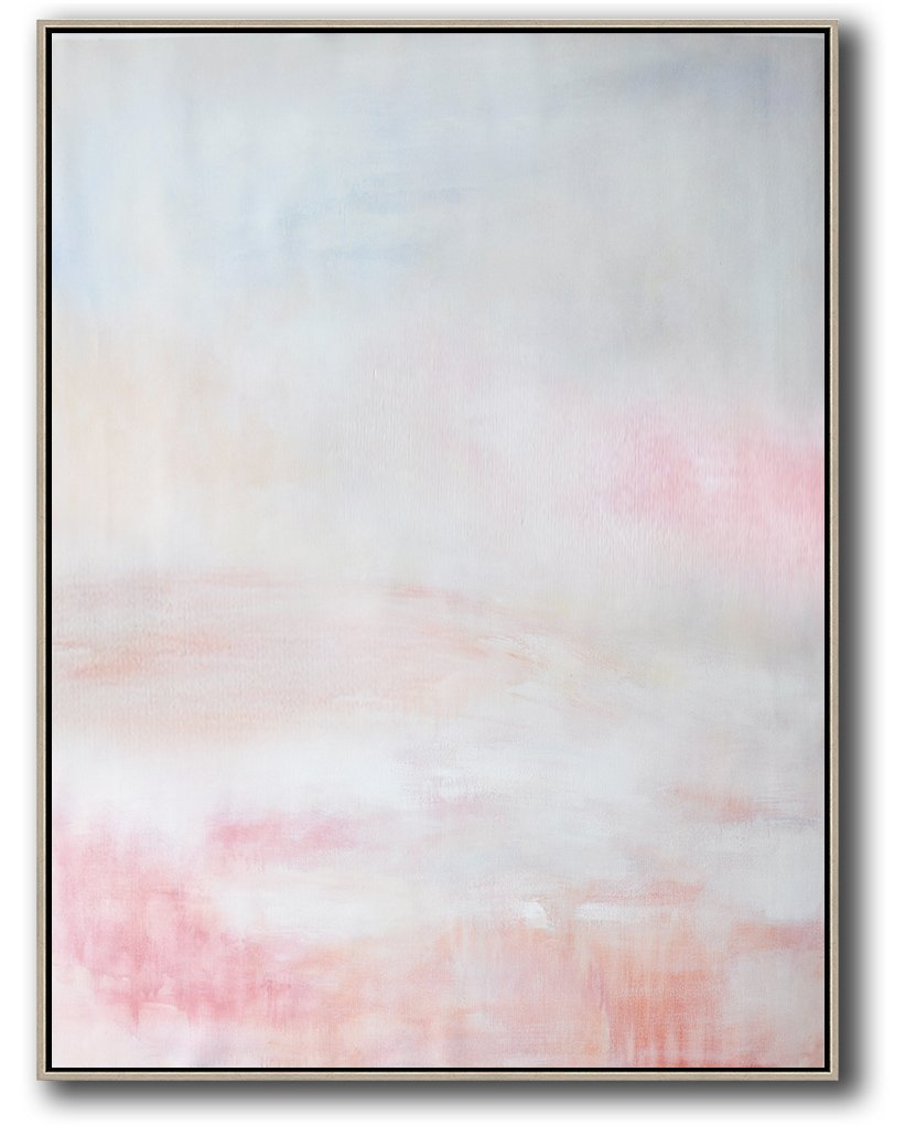 Extra Large Canvas Art,Vertical Vertical Abstract Art On Canvas,Acrylic Minimailist Painting,Grey,Pink,White.etc