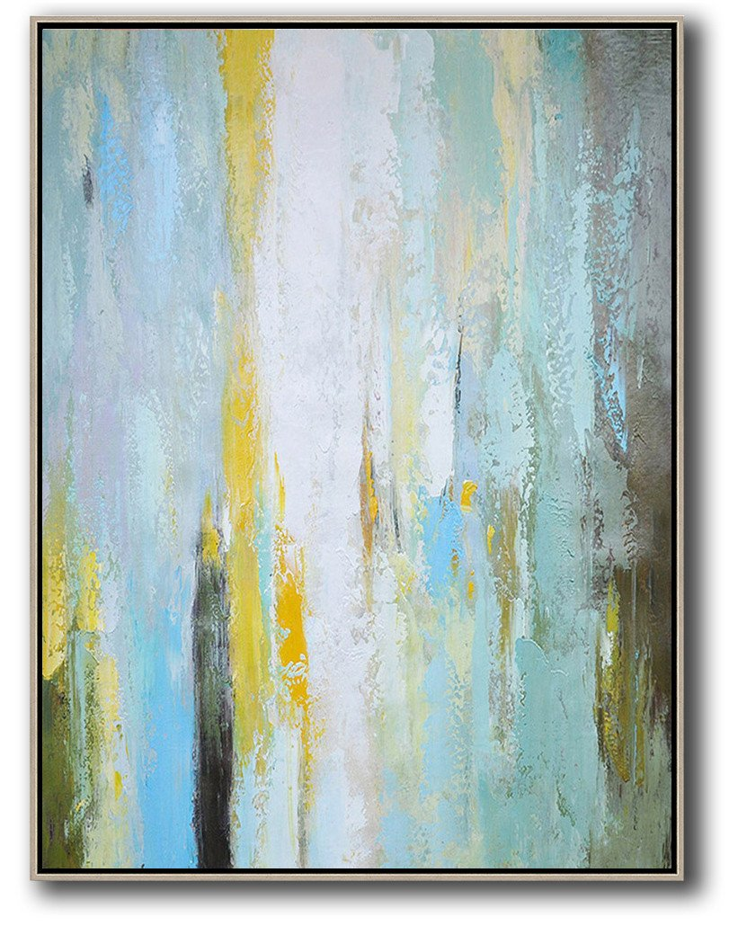 Large Modern Abstract Painting,Vertical Palette Knife Contemporary Art,Large Abstract Wall Art,Blue,White,Yellow,.etc