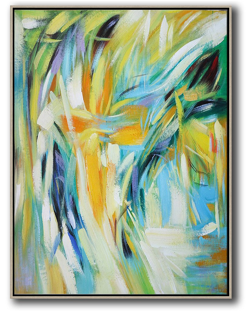 Original Artwork Extra Large Abstract Painting,Vertical Palette Knife Contemporary Art,Custom Canvas Wall Art,Green,White,Yellow,Blue.etc