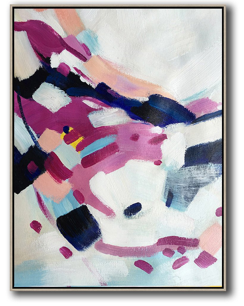 Original Artwork Extra Large Abstract Painting,Vertical Palette Knife Contemporary Art,Oversized Canvas Art,White,Pink,Dark Blue,Grey.etc