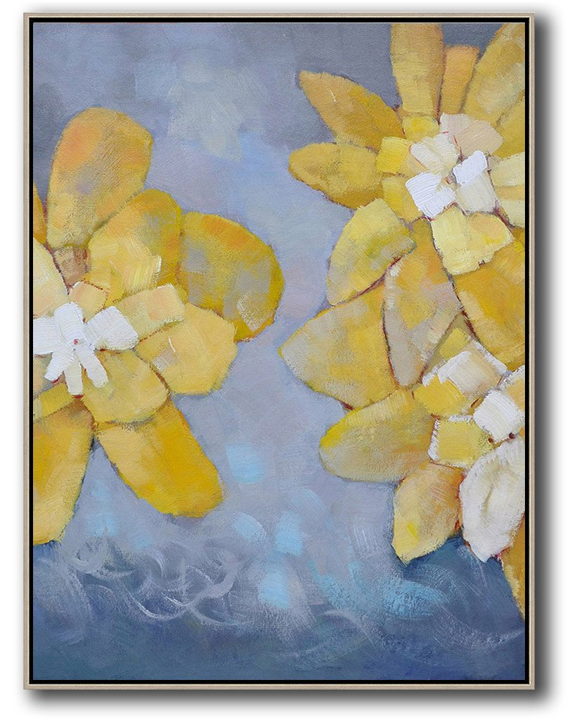 Handmade Large Painting,Vertical Palette Knife Contemporary Art,Big Art Canvas,Yellow,White,Blue.etc