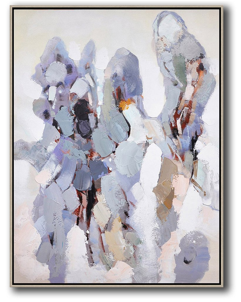Abstract Painting Extra Large Canvas Art,Vertical Palette Knife Contemporary Art,Wall Art Ideas For Living Room,Gray,White,Brown.etc