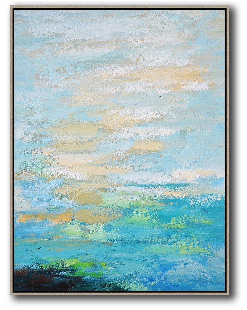 Original Abstract Painting Extra Large Canvas Art,Vertical Palette Knife Contemporary Art,Modern Canvas Art,Blue,Yellow,White.etc