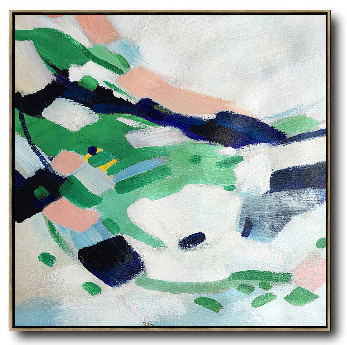 Original Abstract Painting Extra Large Canvas Art,Oversized Contemporary Art,Hand Paint Large Art,White,Green,Pink.etc