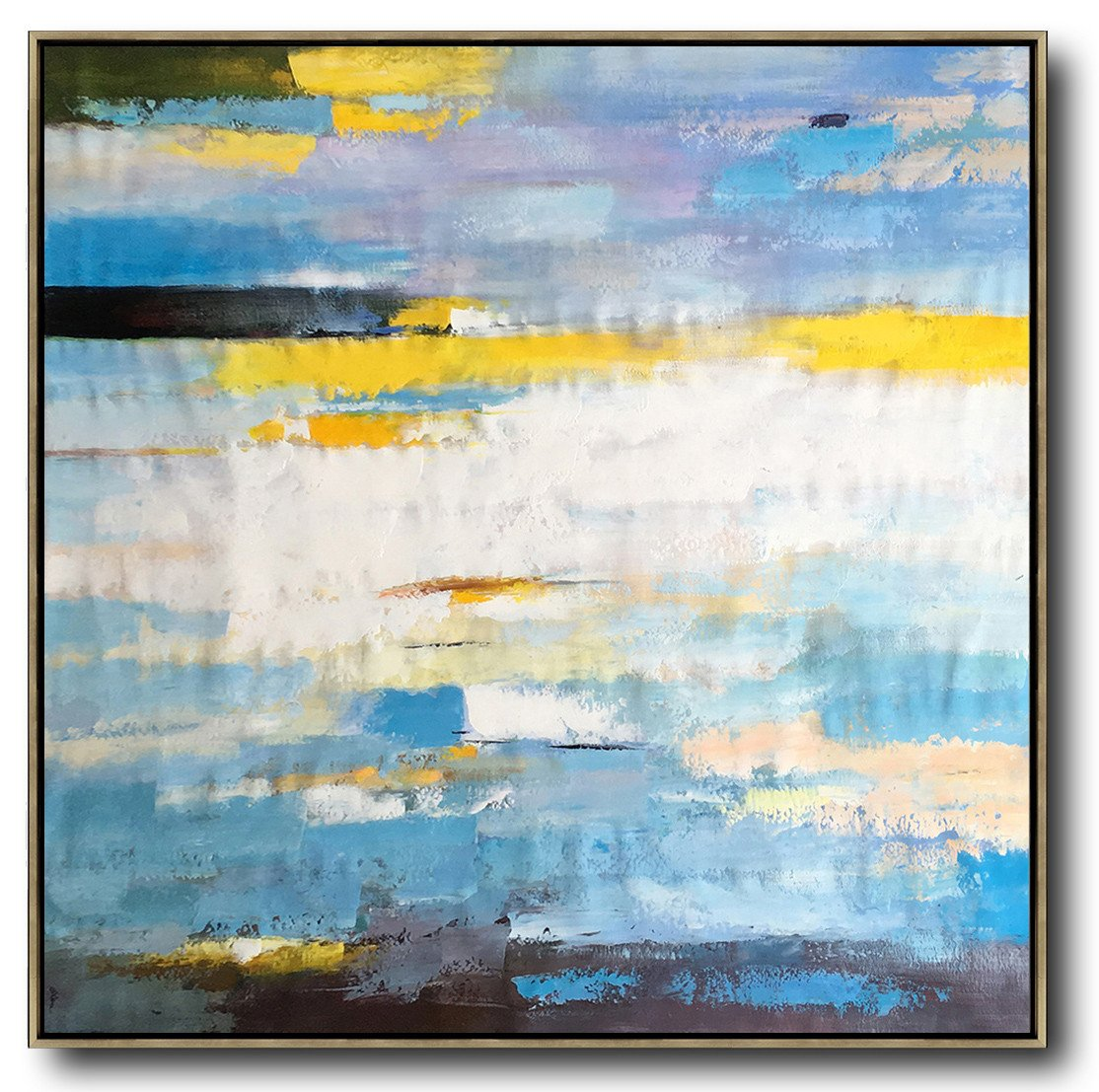 Extra Large Acrylic Painting On Canvas,Oversized Contemporary Art,Large Wall Canvas,White,Blue,Yellow.etc