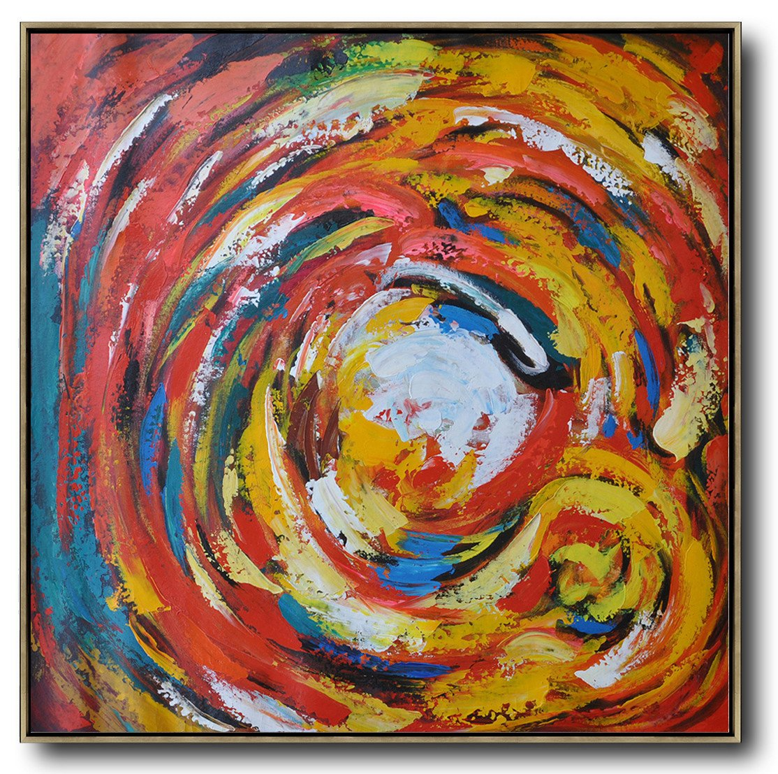 Large Abstract Painting,Oversized Contemporary Art,Oversized Canvas Art,Red,White,Yellow,Blue.etc