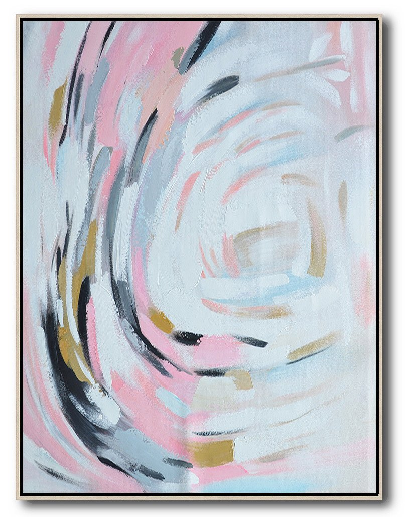 Large Abstract Painting,Oversized Square Palette Knife Abstract Floral Painting On Canvas,Living Room Wall Art,Pink,White,Grey,Black.etc