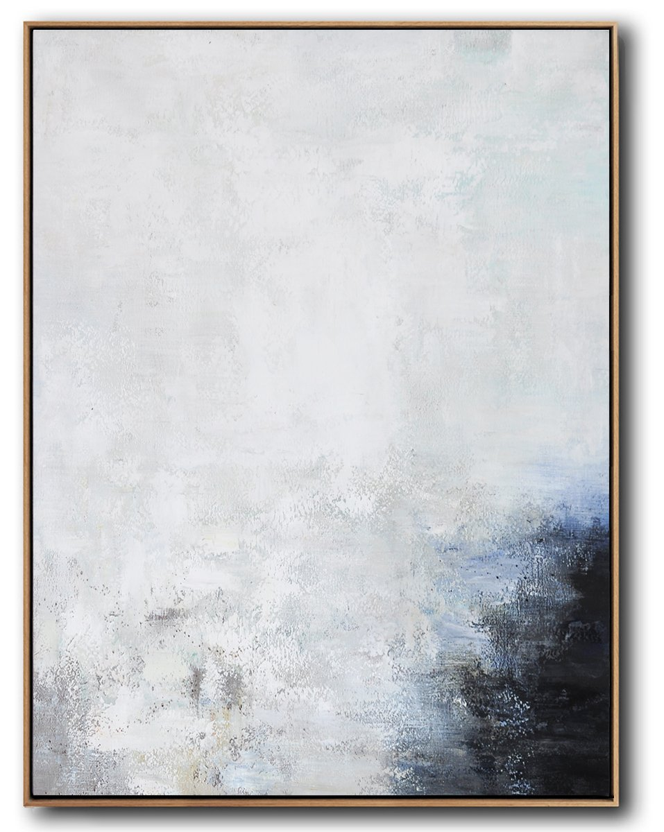 Handmade Large Contemporary Art,Vertical Vertical Abstract Art On Canvas,Extra Large Canvas Painting,Grey,White,Black,Blue.etc