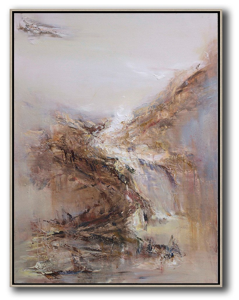 Handmade Extra Large Contemporary Painting,Abstract Landscape Oil Painting,Large Contemporary Painting,Grey,White,Brown,Yellow.etc
