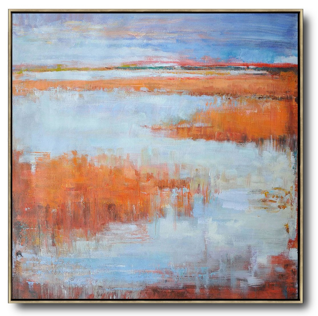 Handmade Large Contemporary Art,Oversized Abstract Landscape Oil Painting,Large Living Room Decor,Orange,Blue,Gray.etc