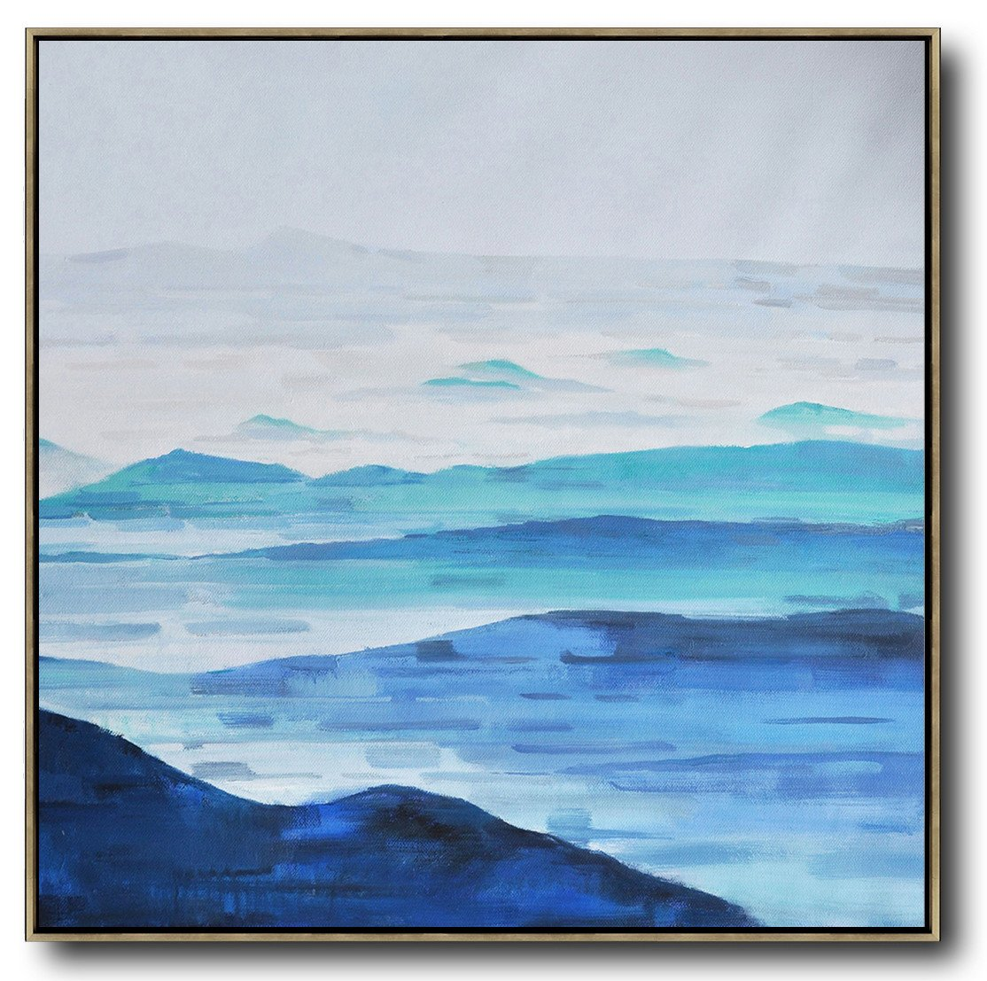 Abstract Painting Extra Large Canvas Art,Oversized Abstract Landscape Oil Painting,Big Painting,Blue,Gray,White.etc