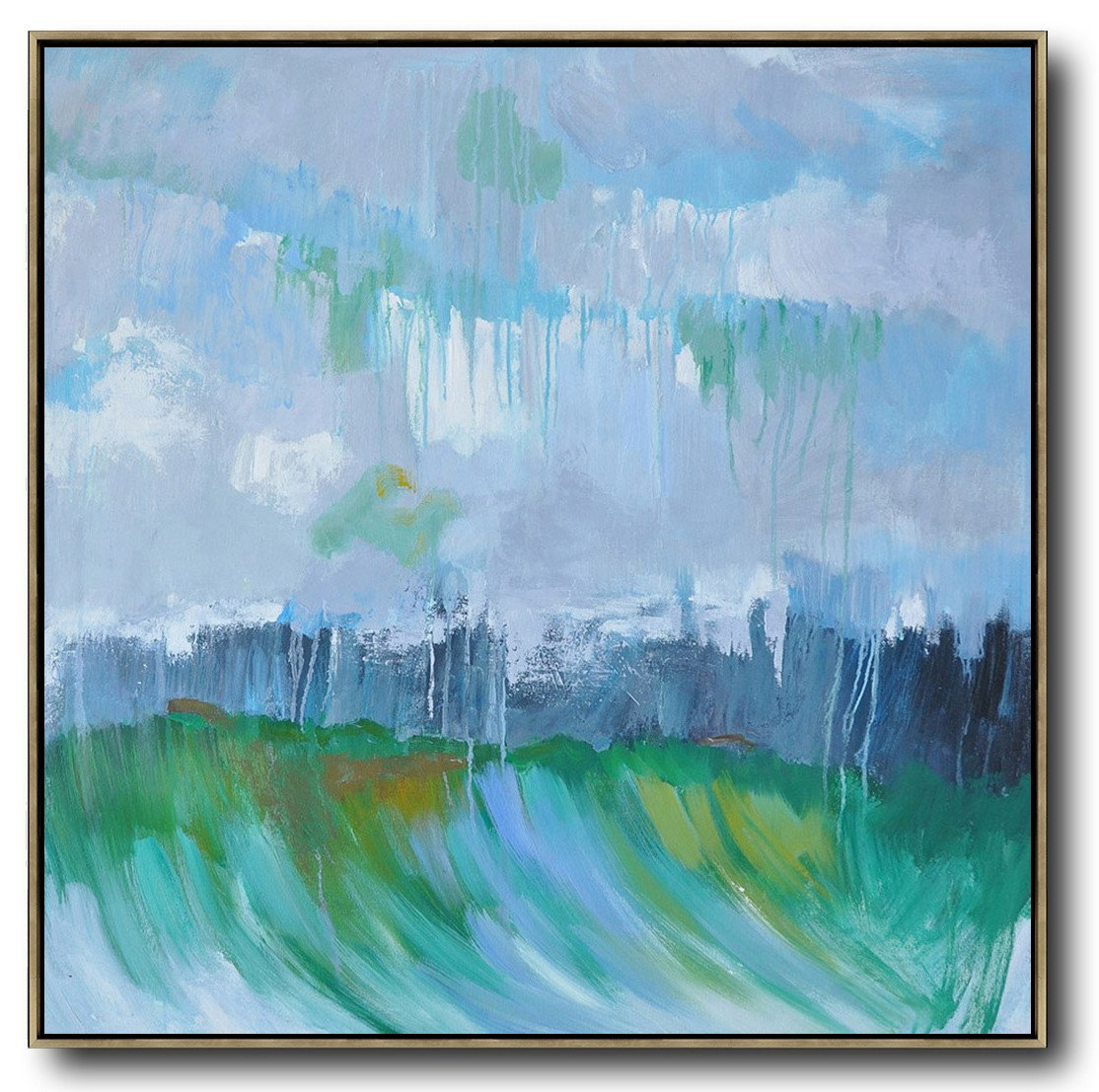 Extra Large Canvas Art,Oversized Abstract Landscape Oil Painting,Hand Paint Large Clean Modern Art,Gray,Green,Dark Blue.etc