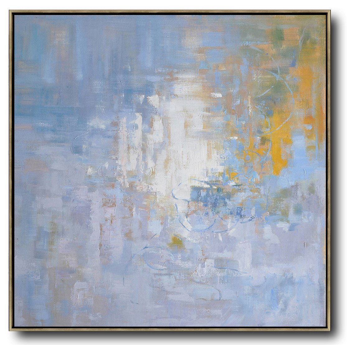 Abstract Painting Extra Large Canvas Art,Oversized Abstract Landscape Oil Painting,Giant Canvas Wall Art,Blue,Yellow,White.etc