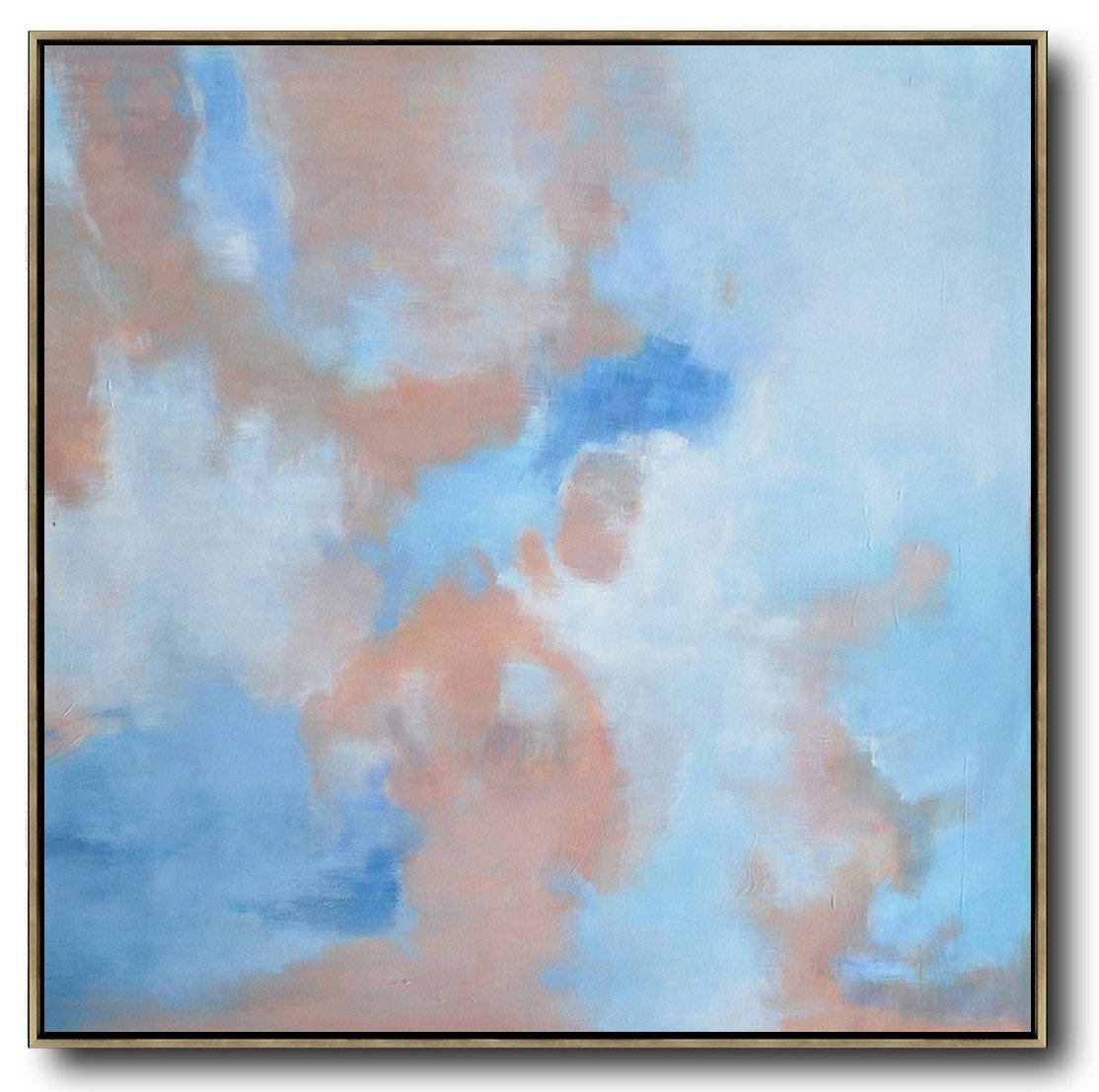 "Extra Large 72"" Acrylic Painting,Oversized Abstract Landscape Oil Painting,Acrylic Painting Canvas Art,Blue,Pink,White.etc"
