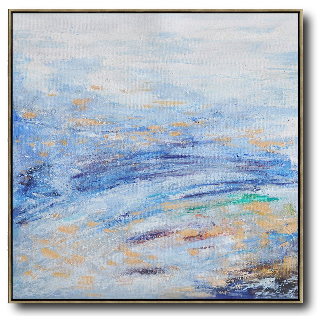 Handmade Large Contemporary Art,Oversized Abstract Landscape Oil Painting,Canvas Wall Paintings,Blue,White,Blue.etc