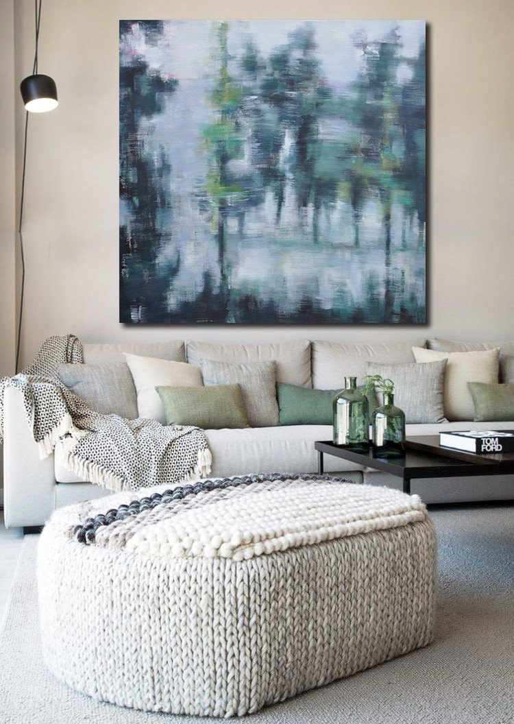 Abstract Painting Extra Large Canvas Art,Oversized Abstract Landscape Oil Painting,Large Abstract Wall Art,Gray,Green,Black.etc