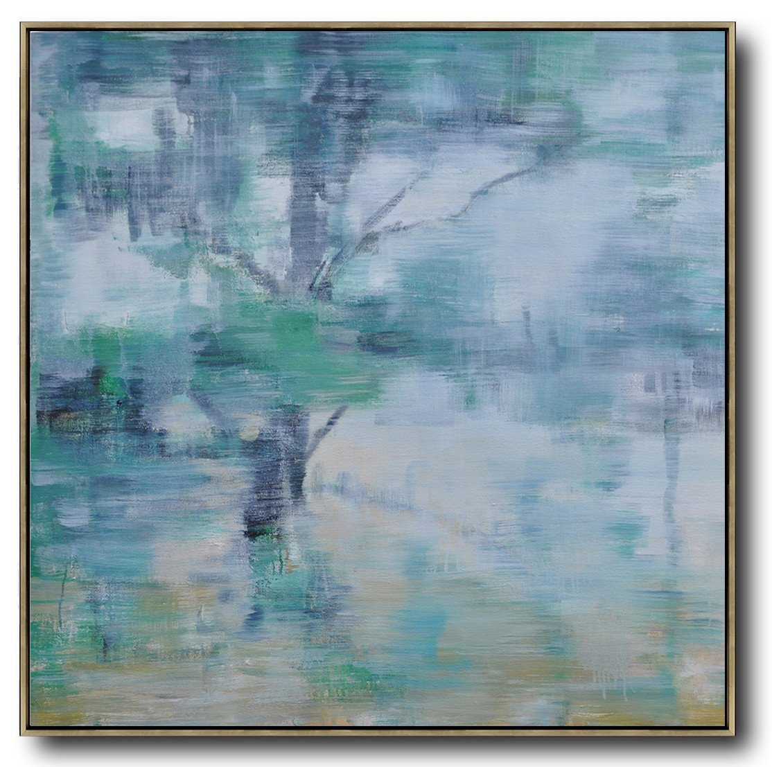 Extra Large Canvas Art,Oversized Abstract Landscape Oil Painting,Contemporary Wall Art,Gray,Green,White.etc