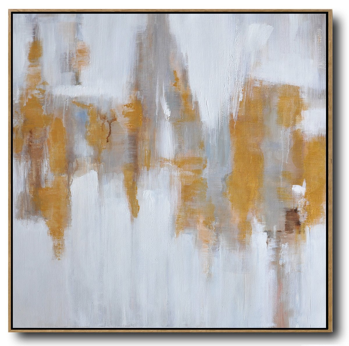 Extra Large Acrylic Painting On Canvas,Large Abstract Landscape Oil Painting On Canvas,Large Abstract Wall Art,White,Gray,Yellow.etc