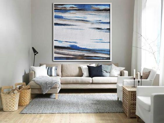Extra Large Acrylic Painting On Canvas,Oversized Abstract Landscape Painting,Abstract Art Decor,Contemporary Painting,White,Blue,Brown.etc
