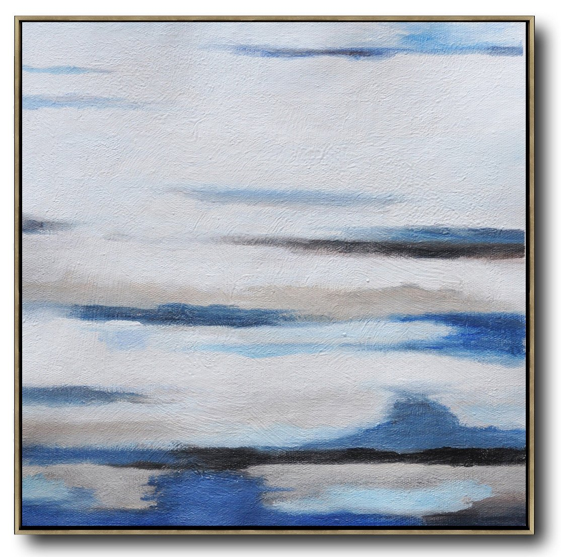 Large Abstract Art,Oversized Abstract Landscape Painting,Textured Painting Canvas Art,White,Gray,Blue.etc
