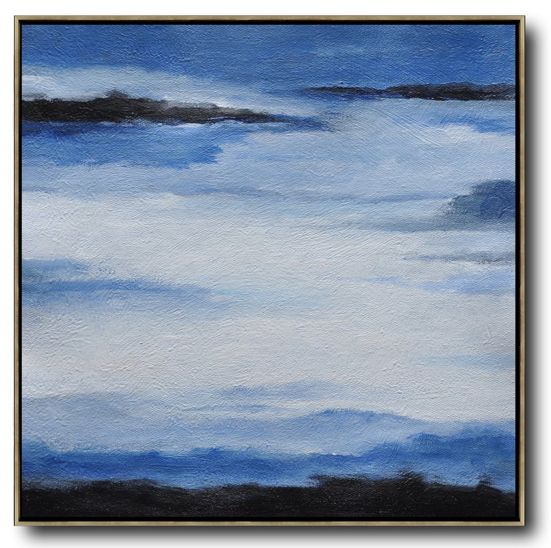 Oversized Canvas Art On Canvas,Oversized Abstract Landscape Painting,Large Contemporary Art Canvas Painting,Black,Blue,White.etc