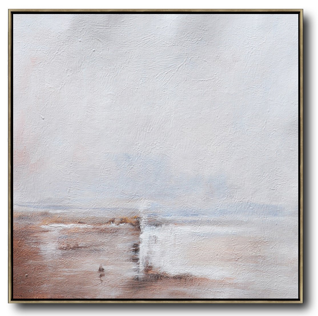 Extra Large Painting,Oversized Abstract Landscape Painting,Acrylic Painting On Canvas,White,Brown,White.etc