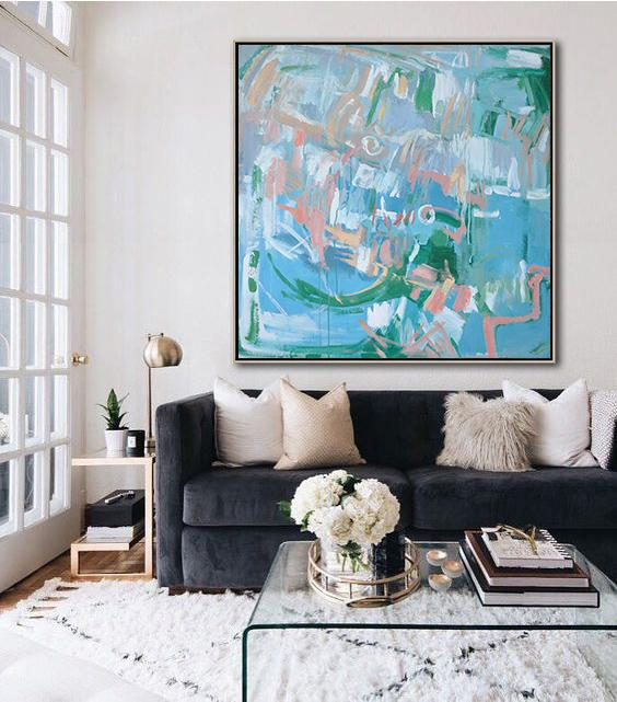 Abstract Painting Extra Large Canvas Art,Oversized Contemporary Oil Painting,Acrylic Painting Large Wall Art,Blue,Green,White,Pink.etc