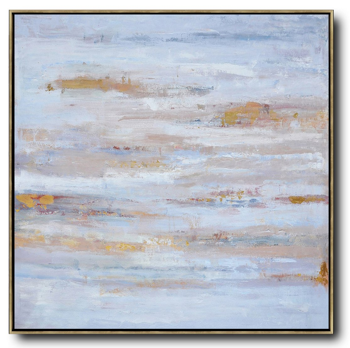 Handmade Painting Large Abstract Art,Oversized Contemporary Oil Painting,Modern Paintings,Sky Blue,Gray,White.etc