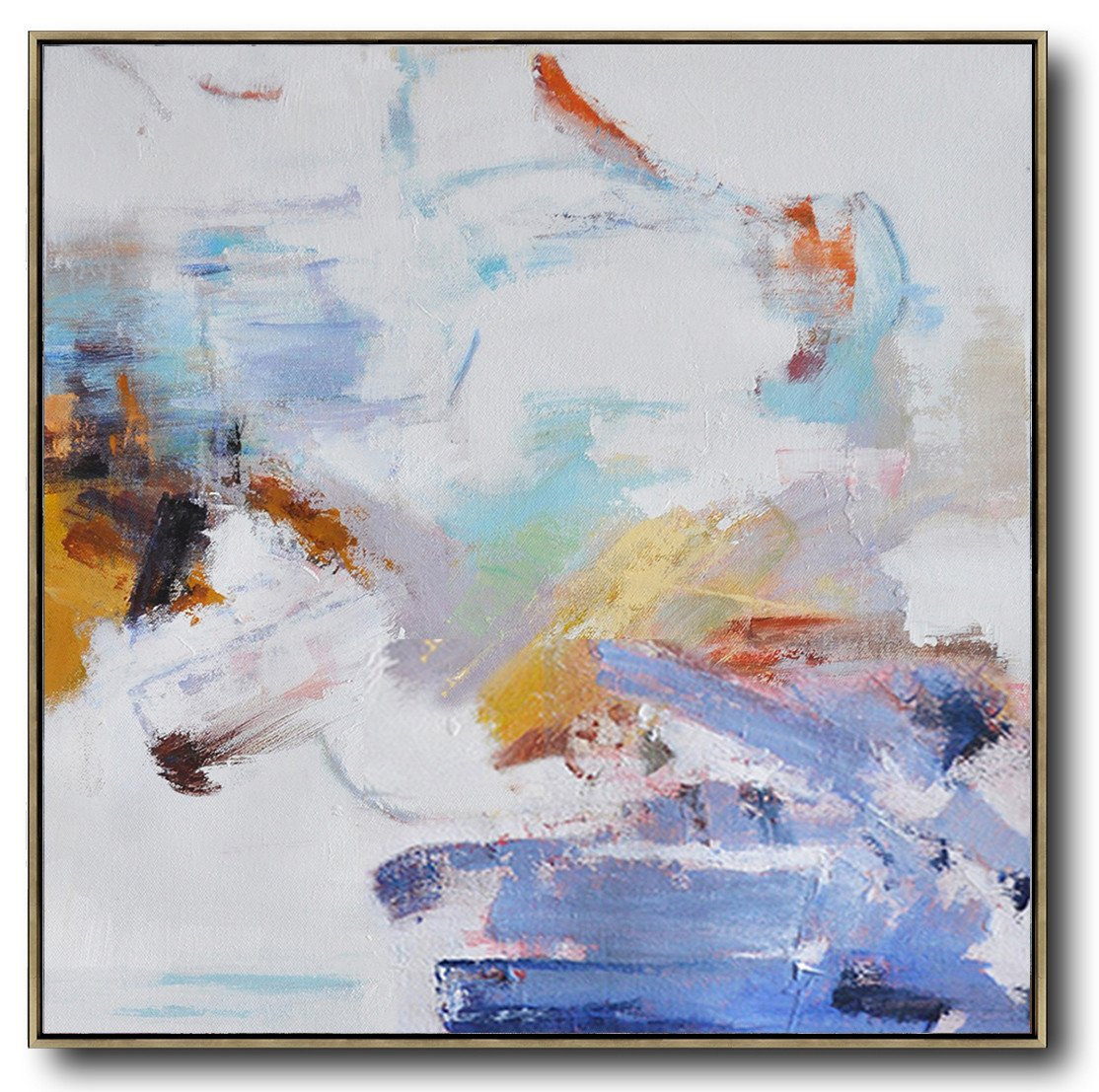 Large Abstract Art,Oversized Abstract Oil Painting,Large Colorful Wall Art,White,Blue,Gray,Yellow.etc
