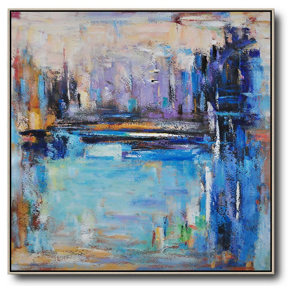 Huge Abstract Painting On Canvas,Oversized Abstract Landscape Painting,Hand-Painted Canvas Art,Purple,Blue,Yellow.etc