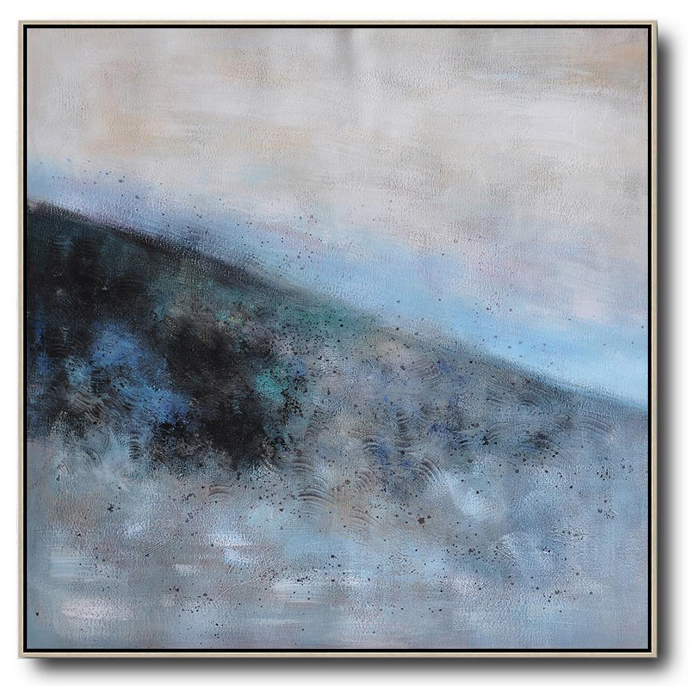 Large Abstract Painting On Canvas,Oversized Abstract Landscape Painting,Original Abstract Painting Canvas Art,Gray,Blue,Black.etc