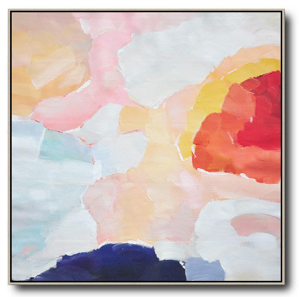 Extra Large Abstract Painting On Canvas,Oversized Abstract Art,Extra Large Canvas Painting,Red,White,Pink,Blue.etc