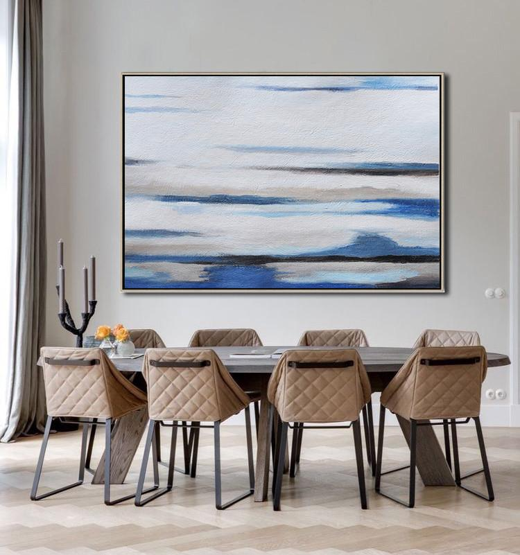 Large Abstract Painting On Canvas,Horizontal Palette Knife Contemporary Art,Extra Large Canvas Art,Handmade Acrylic Painting,Brown,White,Blue,Grey.etc
