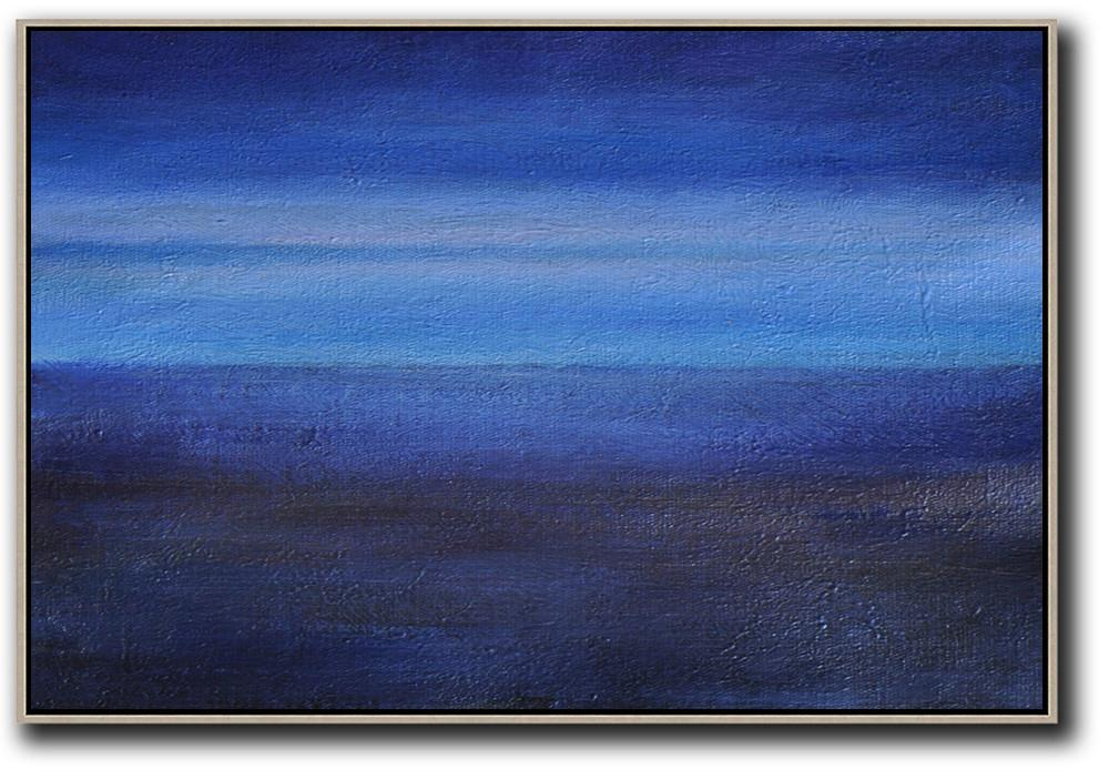 Large Abstract Art,Horizontal Palette Knife Contemporary Art,Large Contemporary Art Canvas Painting,Dark Blue,Black ,Light Blue.etc