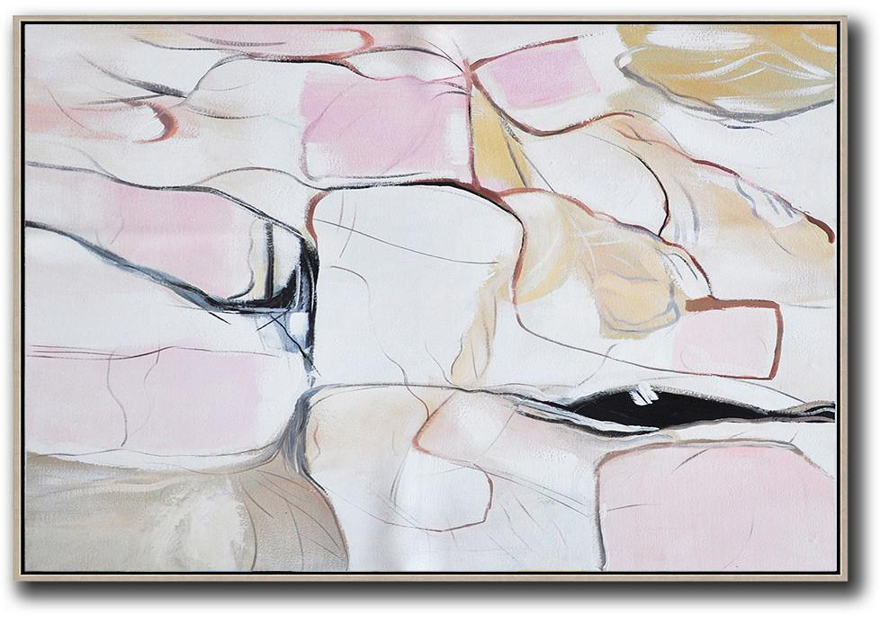 Extra Large Acrylic Painting On Canvas,Oversized Horizontal Contemporary Art,Canvas Wall Art,White,Pink,Yellow,Grey.etc