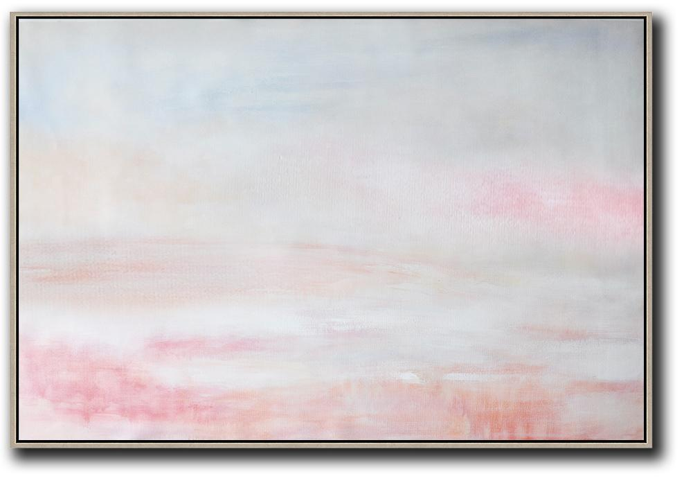 Extra Large Abstract Painting On Canvas,Oversized Horizontal Abstract Art,Large Wall Art Canvas,Grey,Pink,White.etc