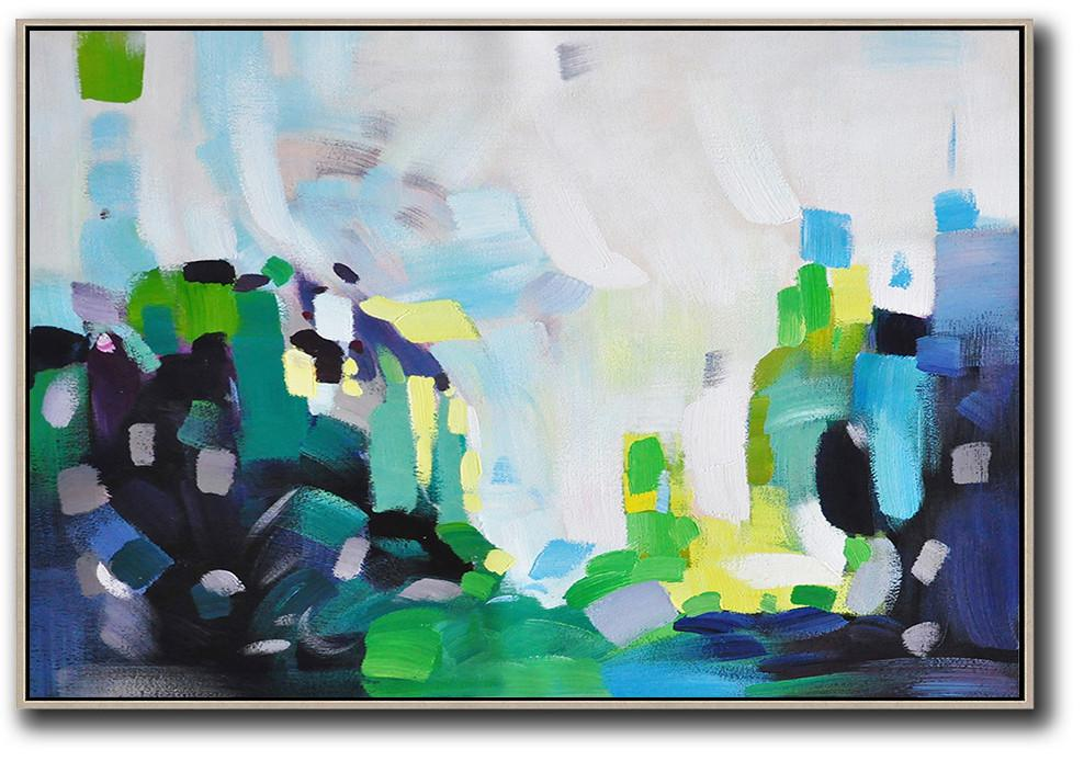 Abstract Painting Extra Large Canvas Art,Oversized Horizontal Contemporary Art,Extra Large Artwork,White,Grey,Blue,Green.etc