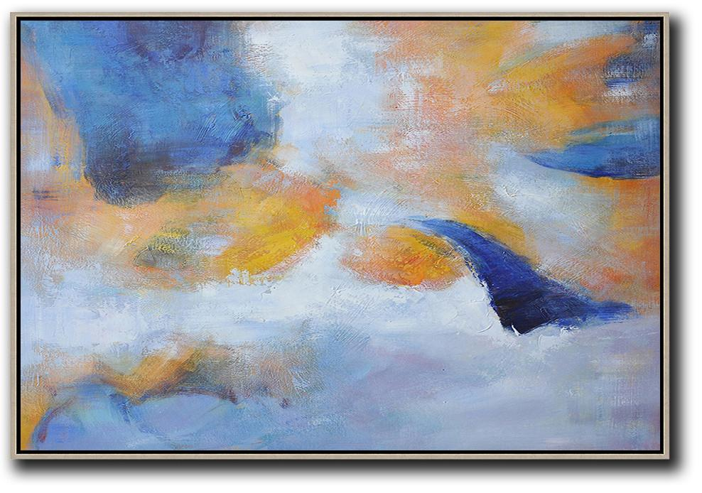 Handmade Large Painting,Oversized Horizontal Contemporary Art,Acrylic Painting Wall Art,Blue,Yellow,White,Grey.etc