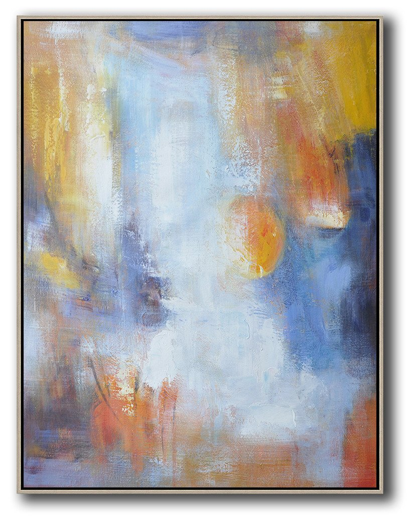 Hand Made Abstract Art,Vertical Palette Knife Contemporary Art,Extra Large Paintings,Yellow,White,Blue.etc