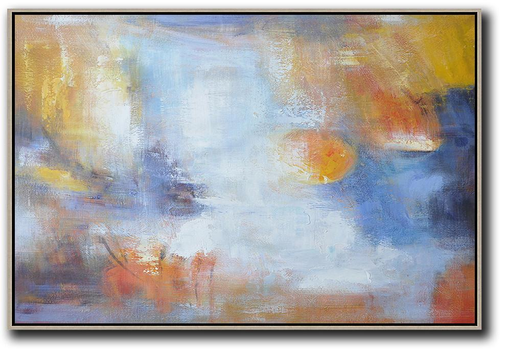Original Artwork Extra Large Abstract Painting,Oversized Horizontal Contemporary Art,Hand Made Original Art,White,Blue,Yellow.etc