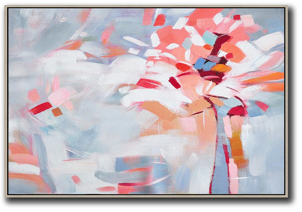 Hand Painted Extra Large Abstract Painting,Oversized Horizontal Contemporary Art,Extra Large Paintings,White,Pink,Red,Grey.etc