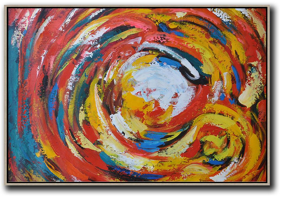 Huge Abstract Painting On Canvas,Oversized Horizontal Palette Knife Abstract Floral Painting On Canvas,Pop Art Canvas,Red,White,Yellow.etc