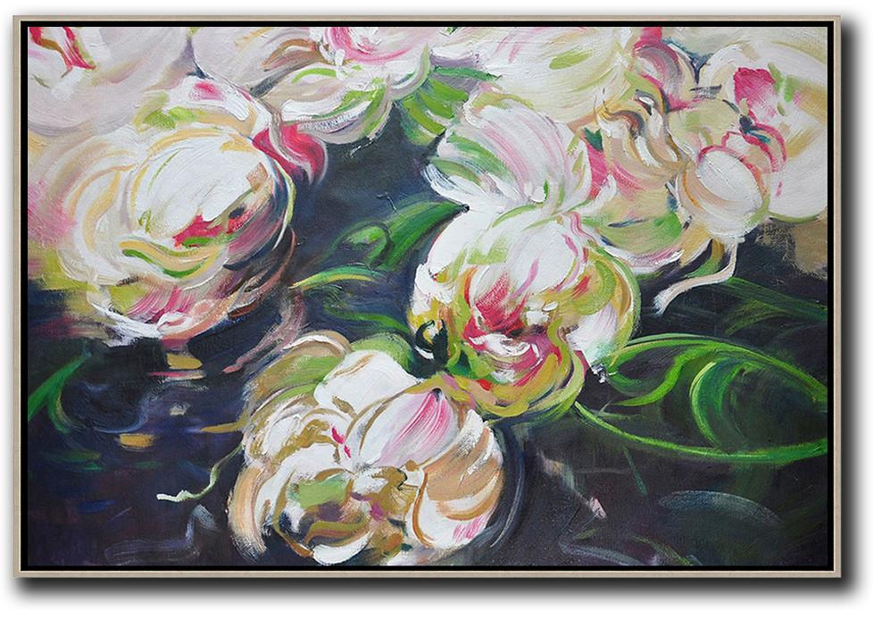 Extra Large Acrylic Painting On Canvas,Horizontal Abstract Flower Oil Painting,Hand Painted Abstract Art,White,Green,Black.etc