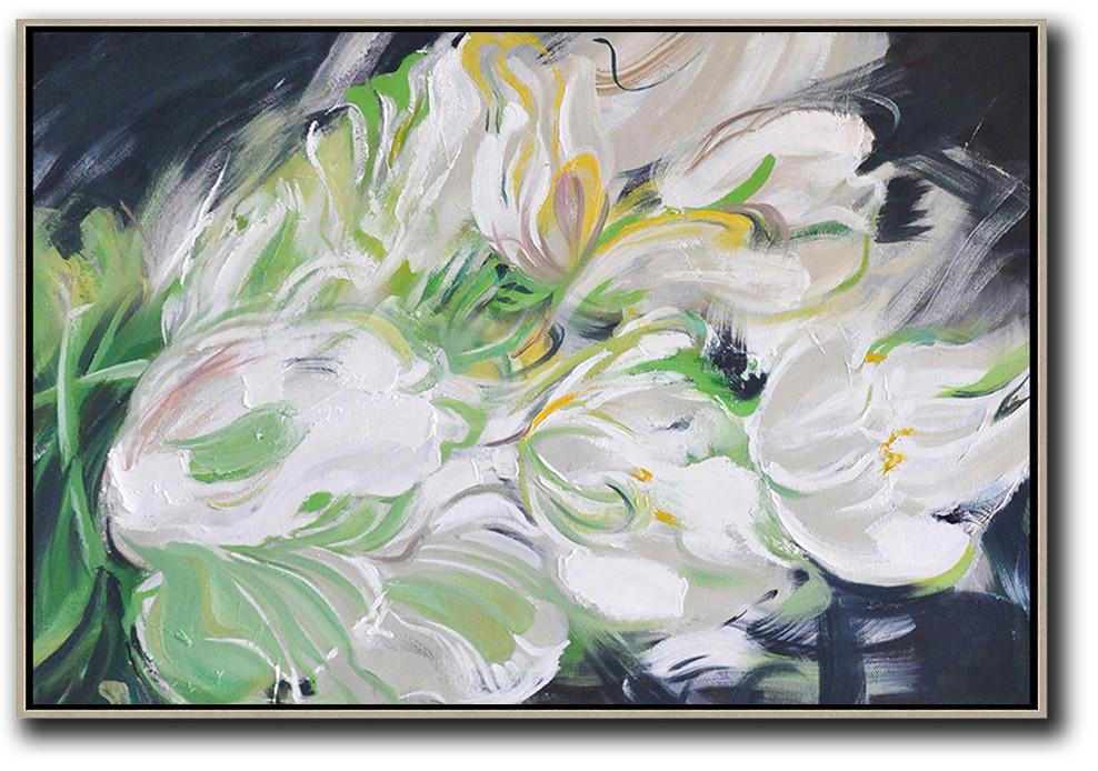 Handmade Large Contemporary Art,Horizontal Abstract Flower Oil Painting,Hand Paint Large Art,White,Light Green,Grey,Black.etc