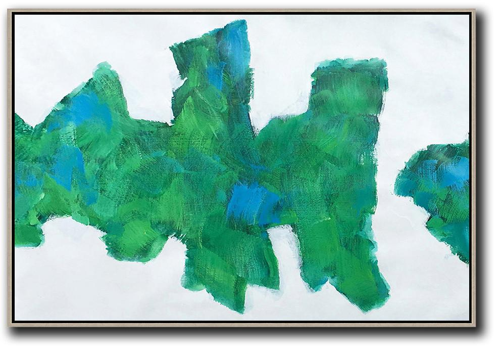 Extra Large Textured Painting On Canvas,Horizontal Abstract Landscape Art,Large Abstract Wall Art,White,Green,Blue.etc