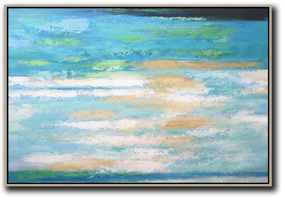 Original Extra Large Wall Art,Oversized Horizontal Abstract Landscape Art,Canvas Wall Paintings,Blue,Earthy Yellow,White.etc