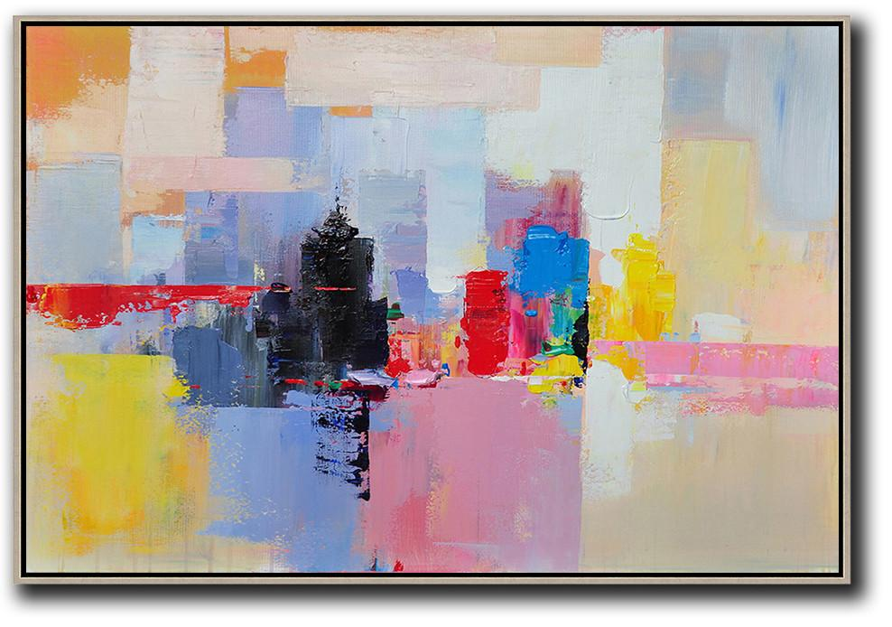 Oversized Canvas Art On Canvas,Horizontal Abstract Landscape Art,Contemporary Art Acrylic Painting,White,Pink,Yellow,Black,Red.etc