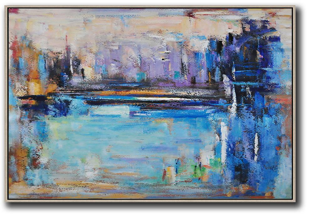 Large Abstract Art,Oversized Horizontal Contemporary Art,Big Art Canvas,Blue,Purple,Dark Blue,Brown.etc