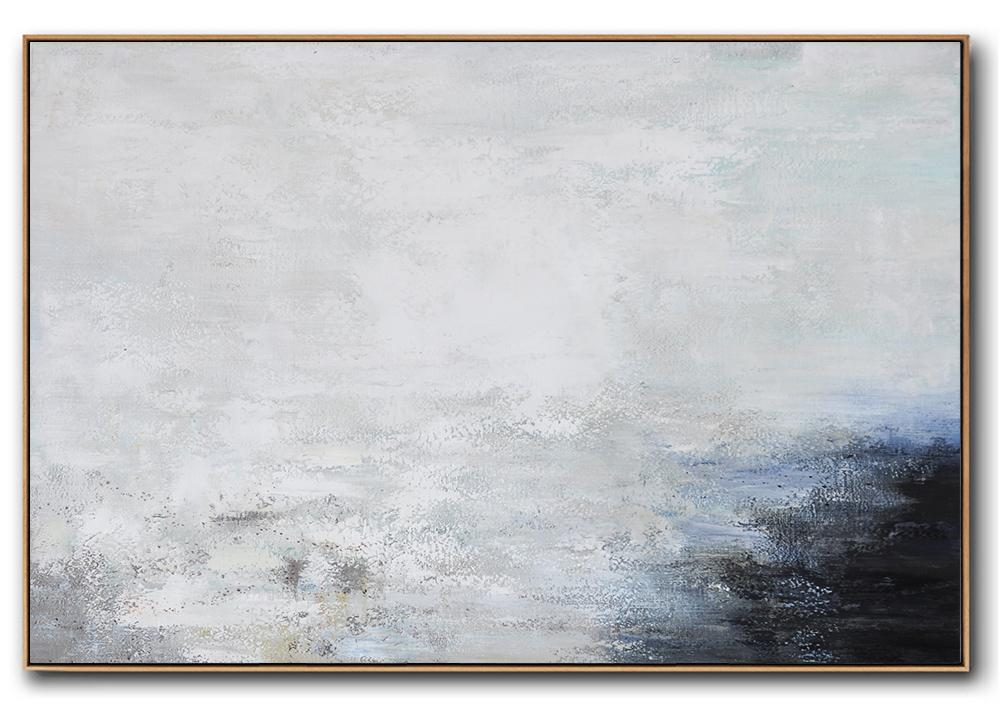 Large Abstract Painting,Hand Painted Oversized Horizontal Abstract Landscape Art On Canvas,Acrylic Painting On Canvas,White,Grey,Black.etc